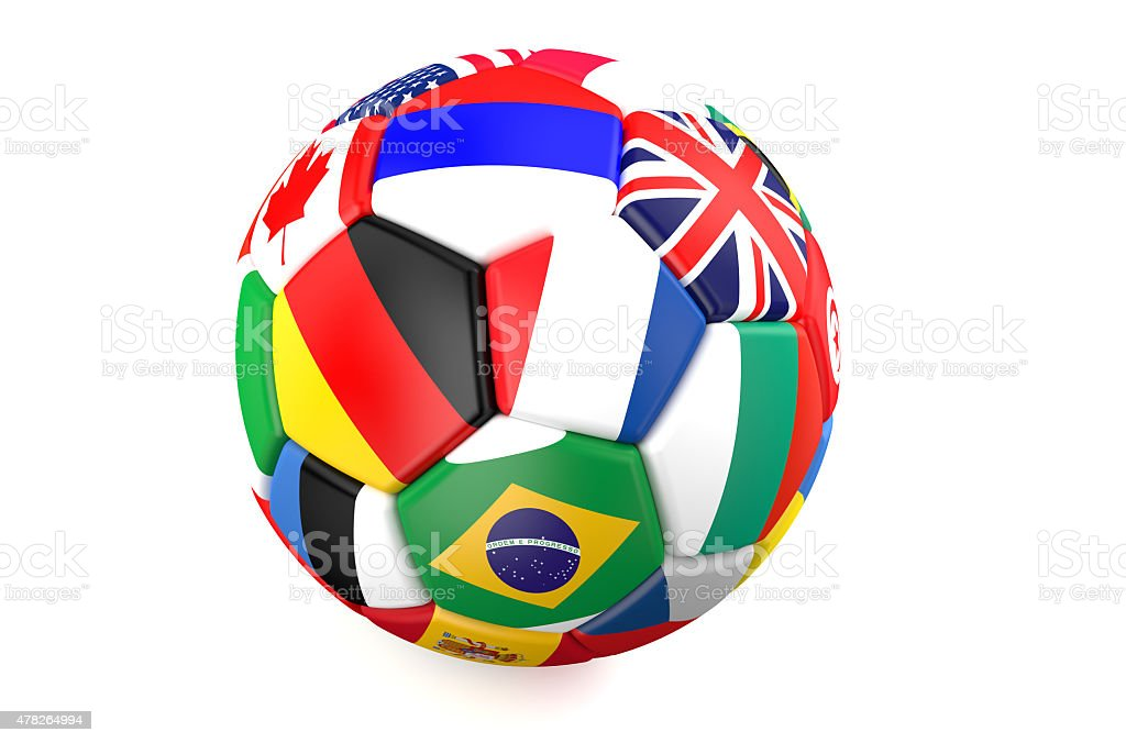 soccer ball with flags of countries stock photo