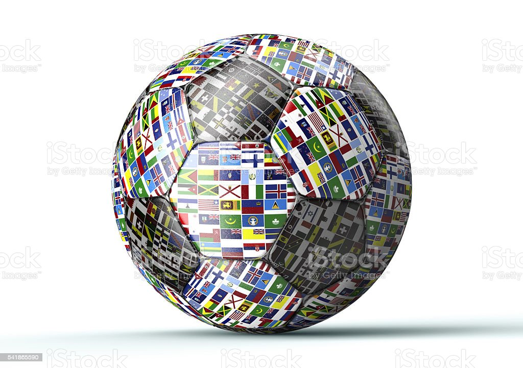 soccer ball with flags of the world isolated on white stock photo