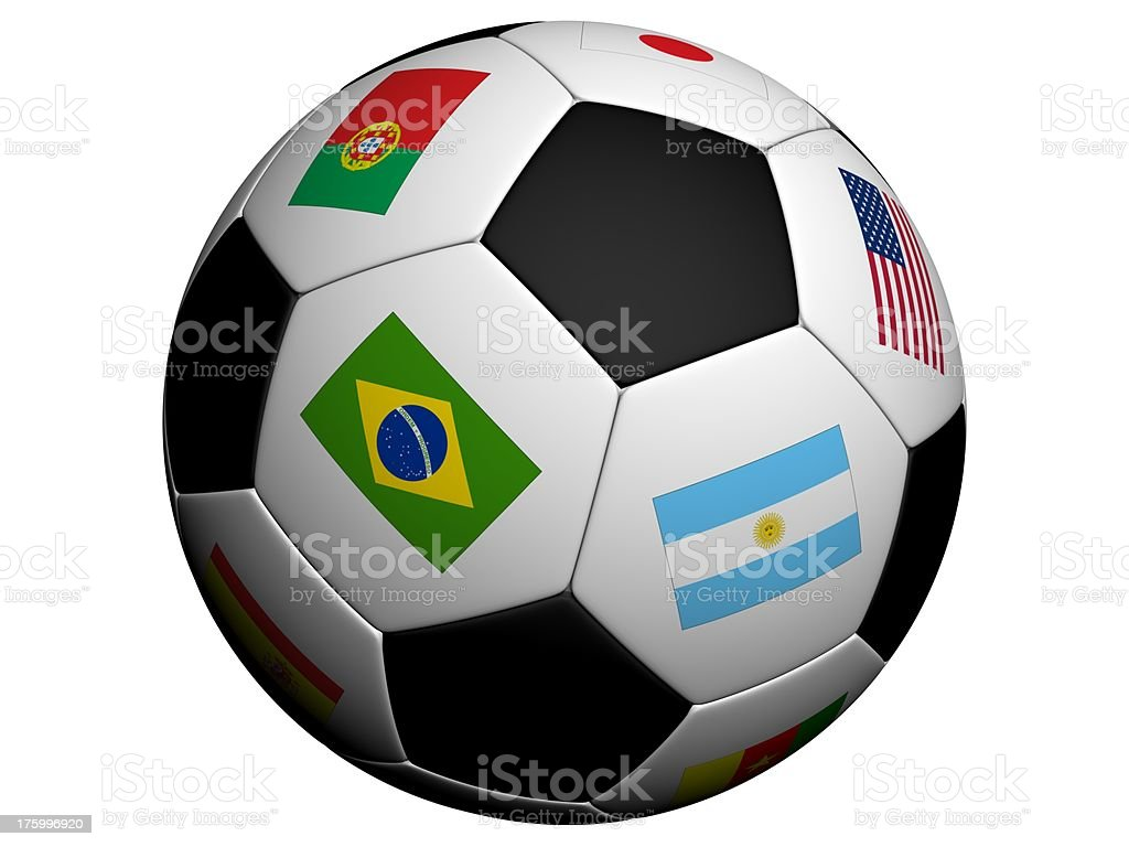 Soccer ball (isolated background) with flags royalty-free stock photo