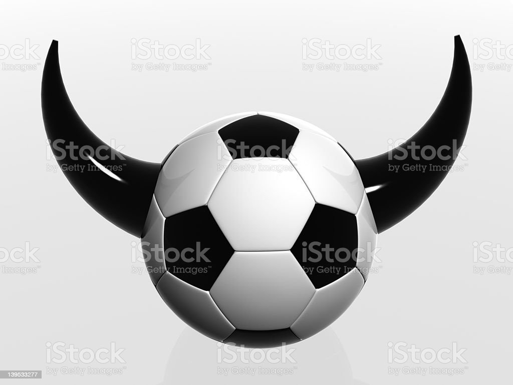 soccer ball with horns stock photo