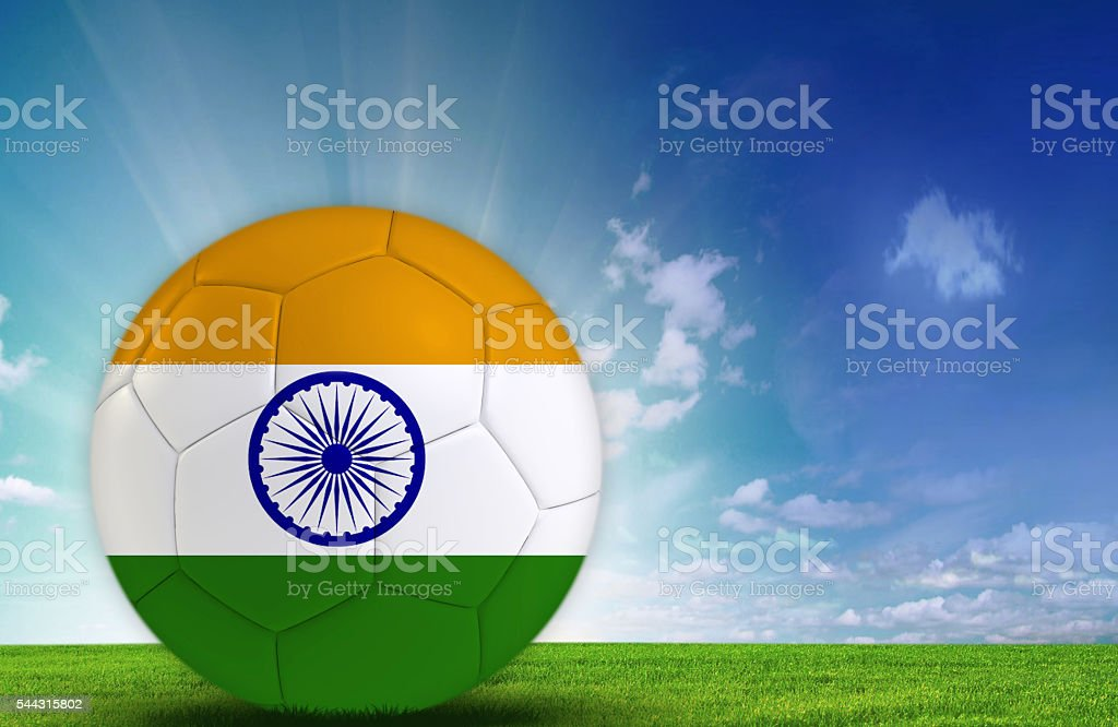 Soccer ball with Indian Flag stock photo