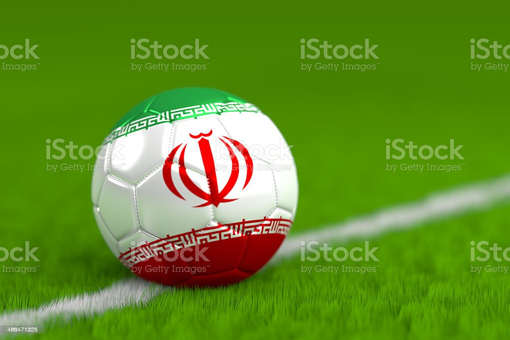 soccer ball with iranian flag royalty-free stock photo