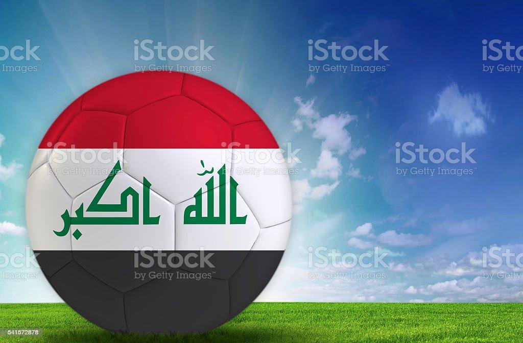 Soccer ball with Iraqi flag stock photo
