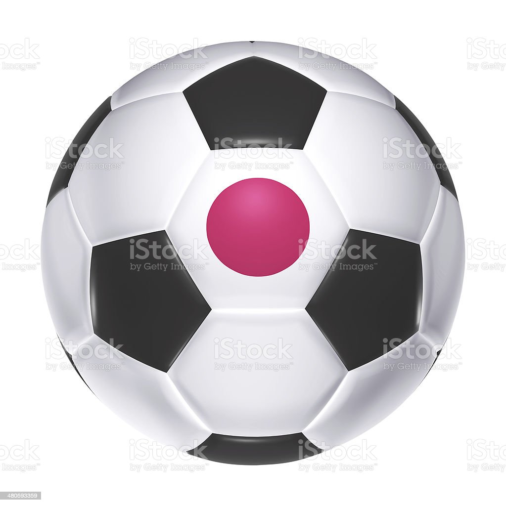Soccer ball with Japan flag royalty-free stock photo