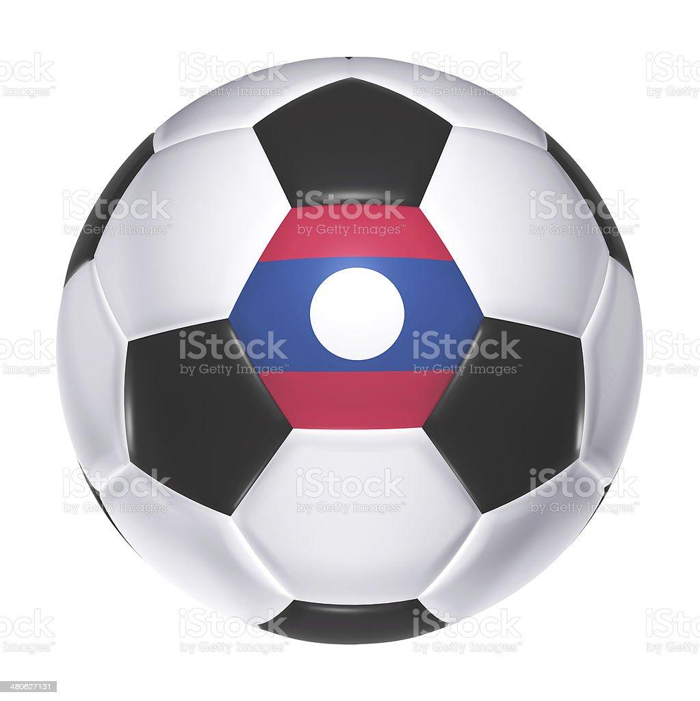 Soccer ball with Laos flag stock photo