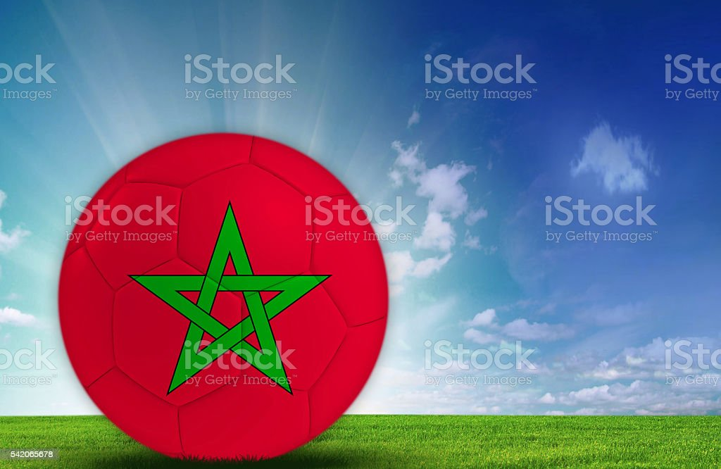 Soccer ball with Moroccan flag stock photo