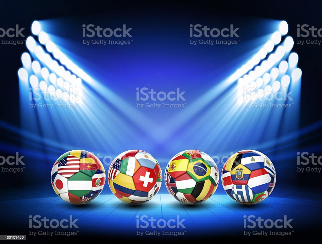 3D soccer ball with nations teams flags on stage stock photo