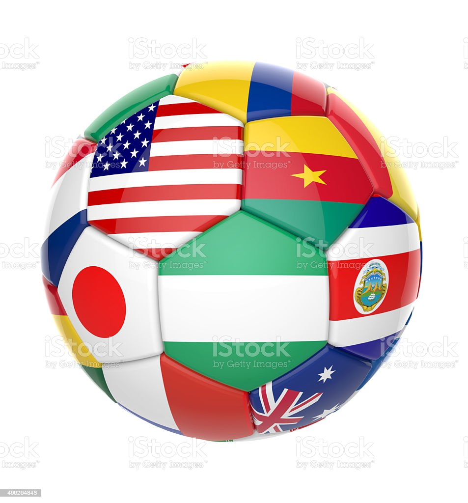 3D soccer ball with nations teams flags stock photo