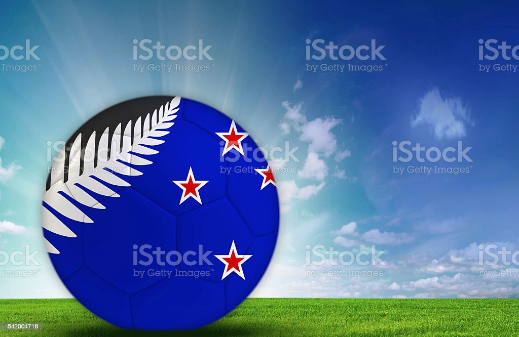 Soccer ball with New Zealand Flag stock photo