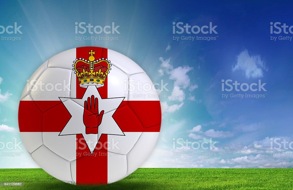 Soccer ball with Northern Ireland Flag stock photo