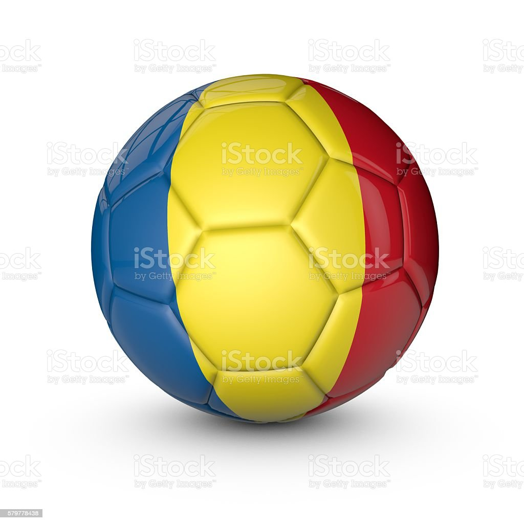 Soccer ball with Romania flag texture stock photo