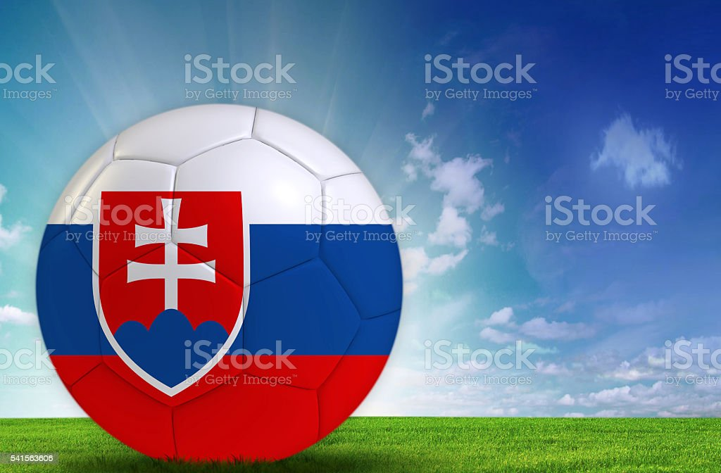 Soccer ball with Slovakia flag stock photo