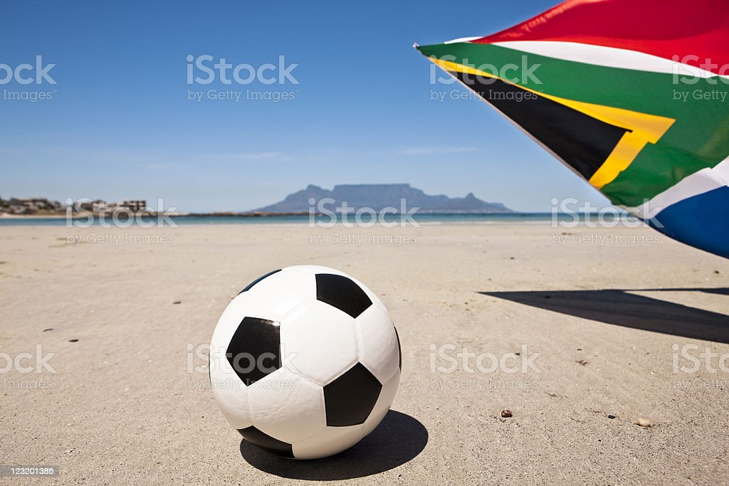 Soccer ball with South African flag  plus Table Mountain royalty-free stock photo