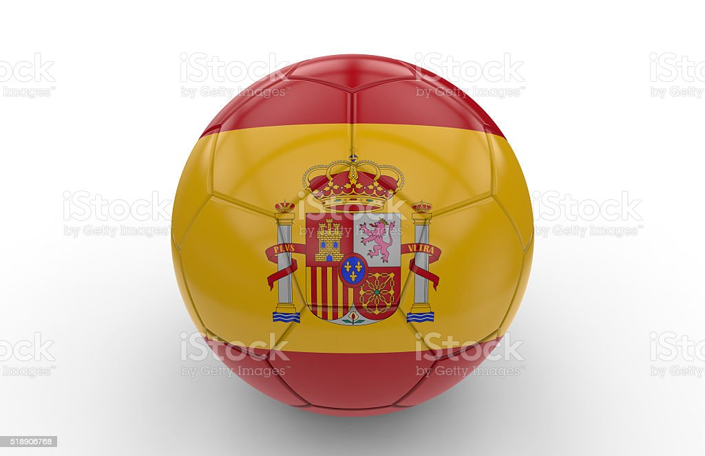 Soccer ball with spain flag stock photo