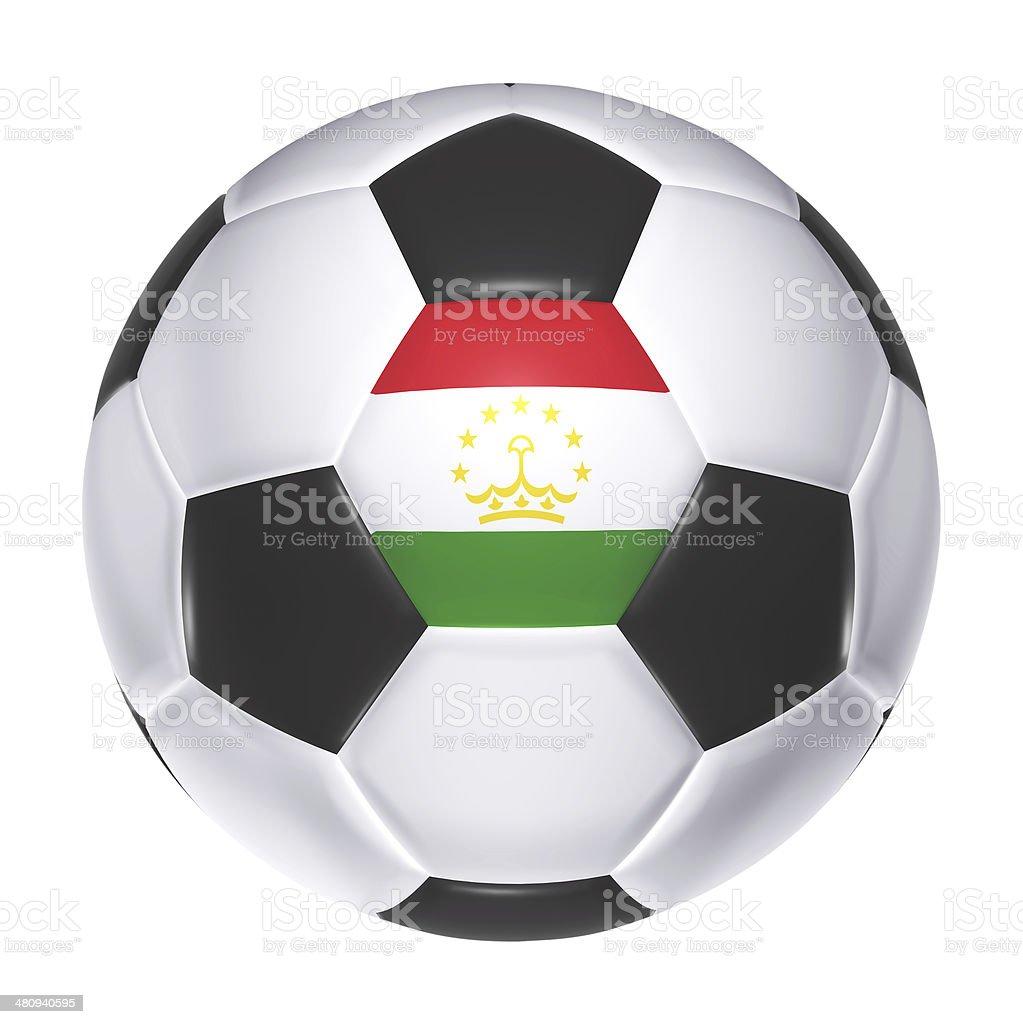 Soccer ball with Tajikistan flag stock photo