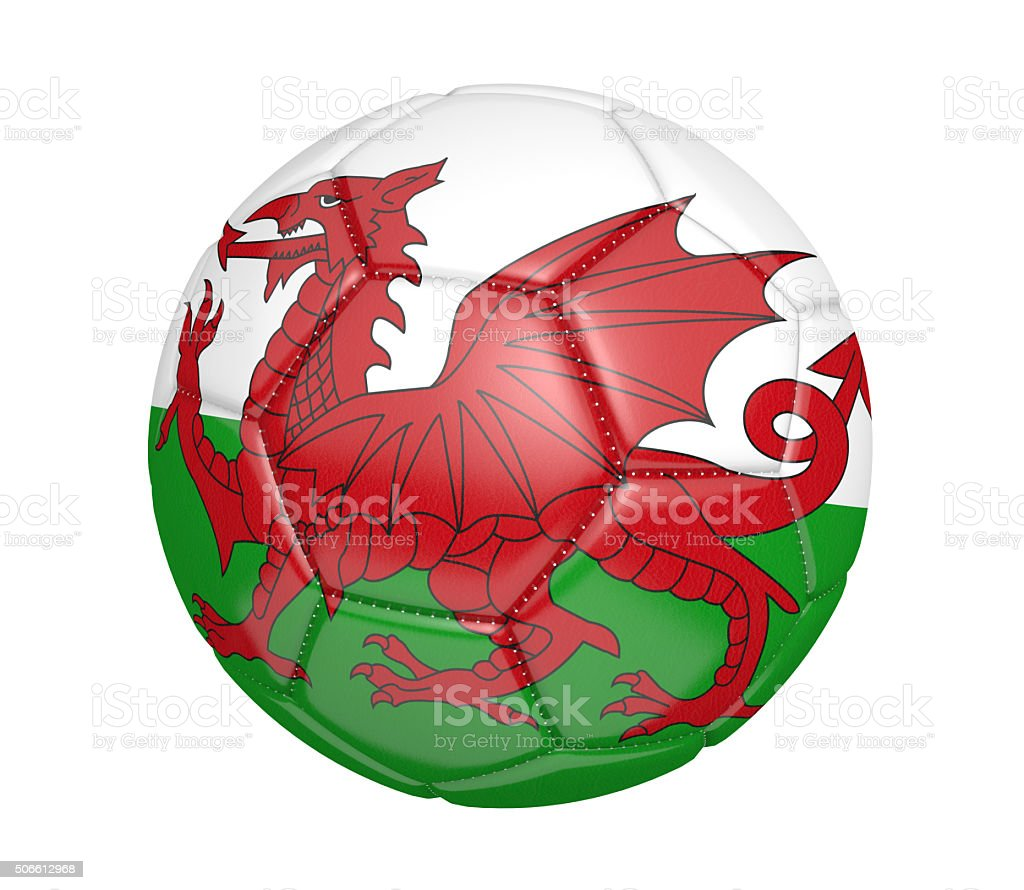Soccer ball with the country flag colors of Wales stock photo