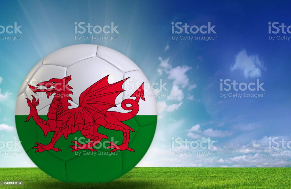 Soccer ball with Welsh flag stock photo