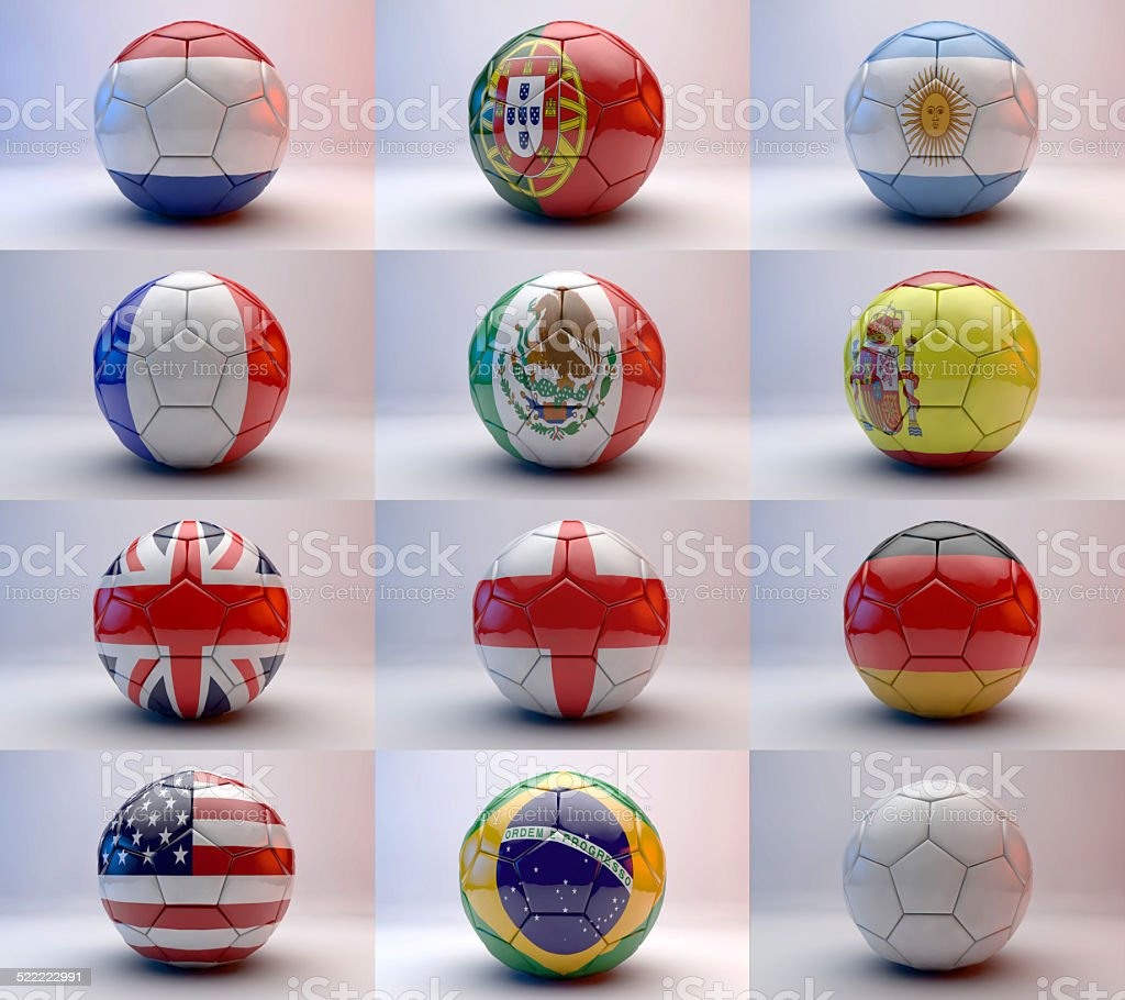 soccer ball with world teams flags stock photo