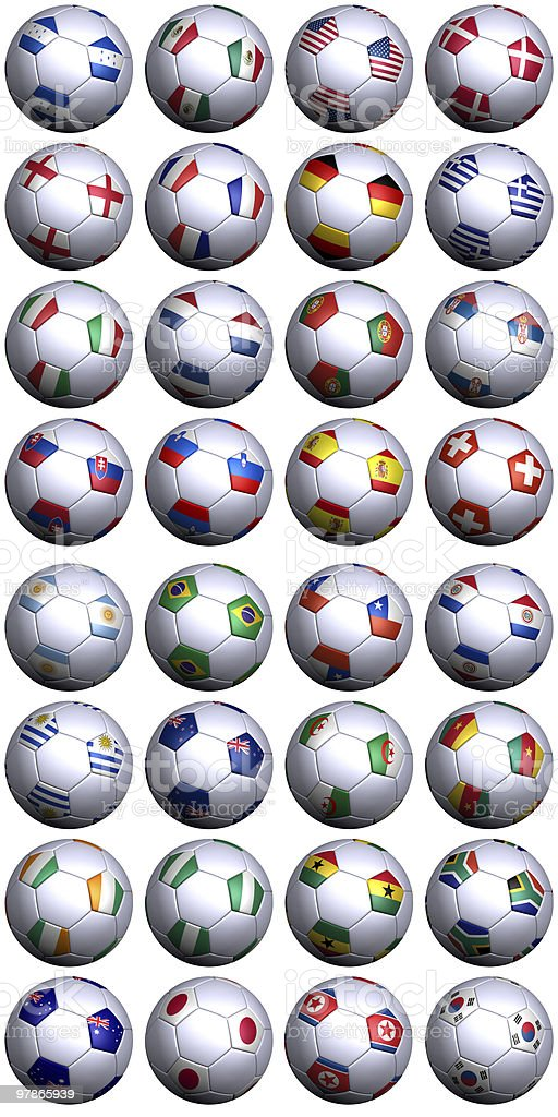 Soccer balls with flags of South Africa World Cup competitors royalty-free stock photo