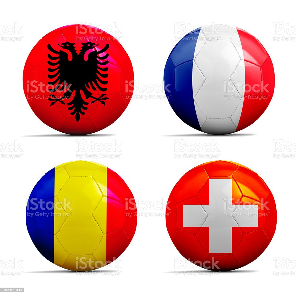 Soccer balls with group A team flags, Football Euro 2016. stock photo