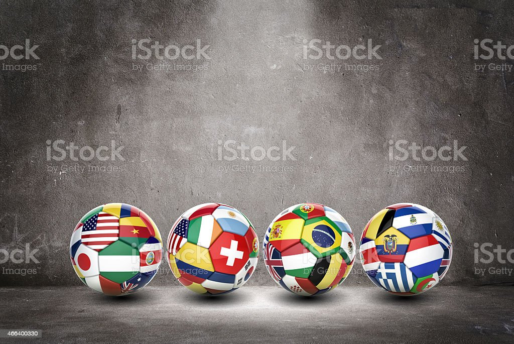 3D soccer balls with nations teams flags stock photo