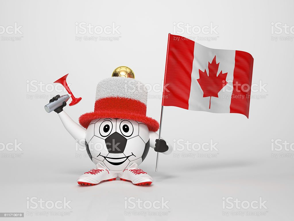 Soccer character fan supporting Canada stock photo