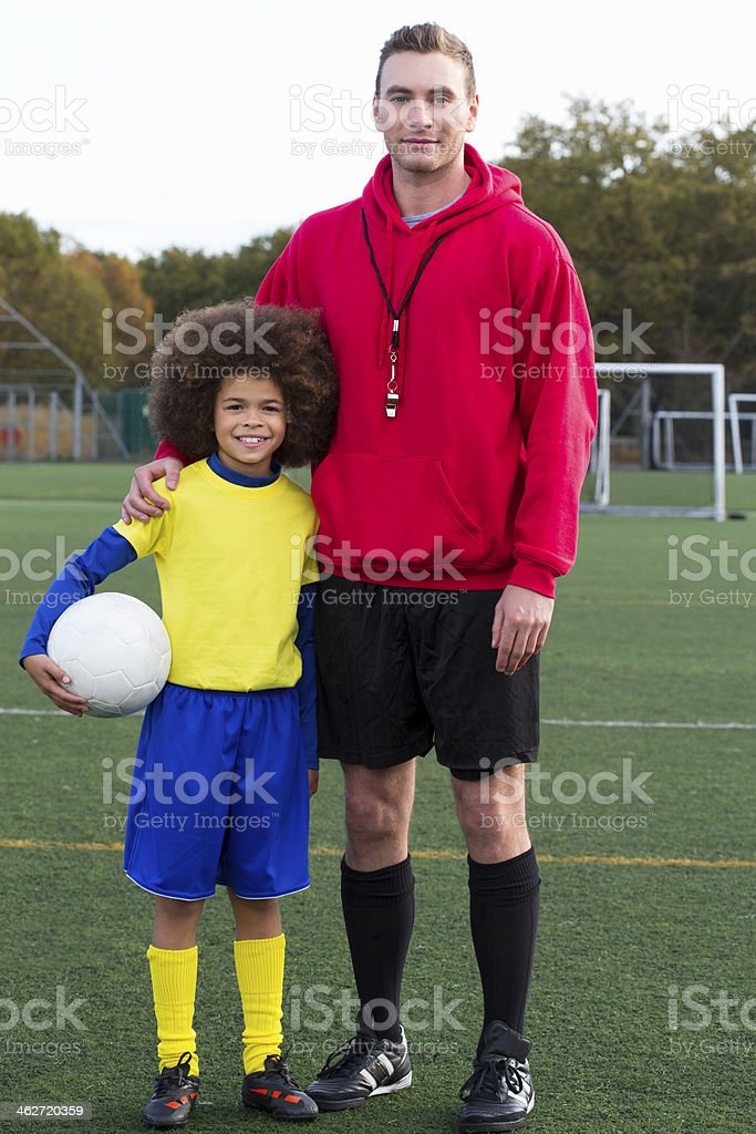 Soccer Coach and Child royalty-free stock photo