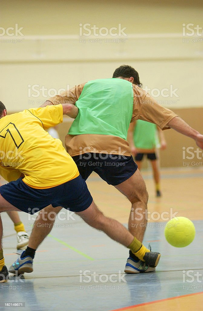 soccer duell indoor stock photo