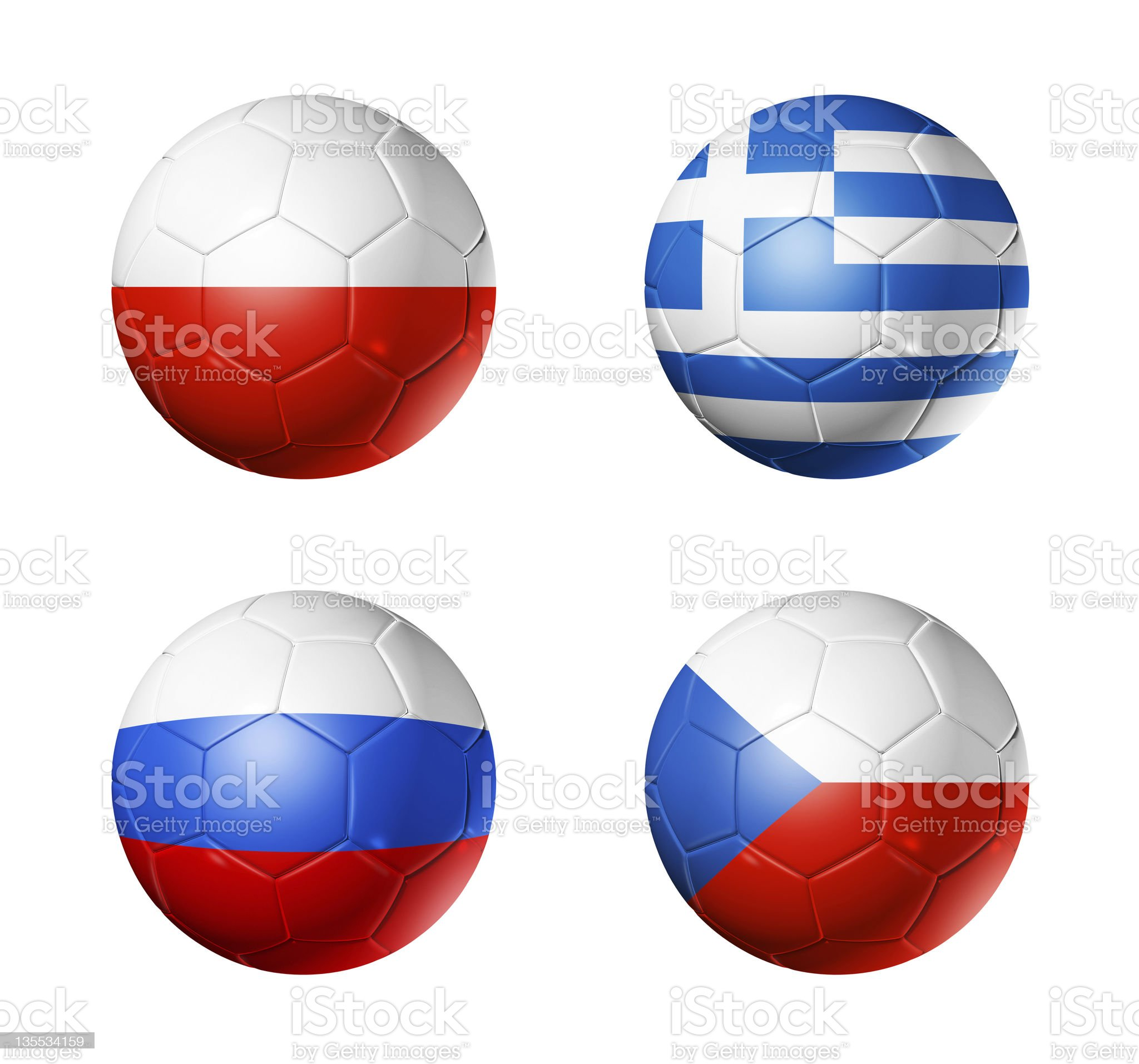 soccer euro 2012 - group A flags on soccerballs royalty-free stock photo