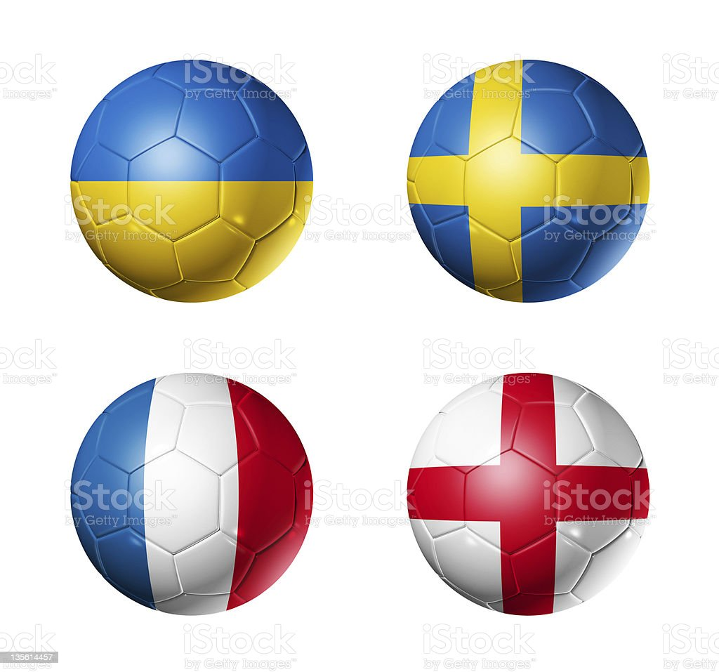 soccer euro 2012 - group D flags on soccerballs stock photo