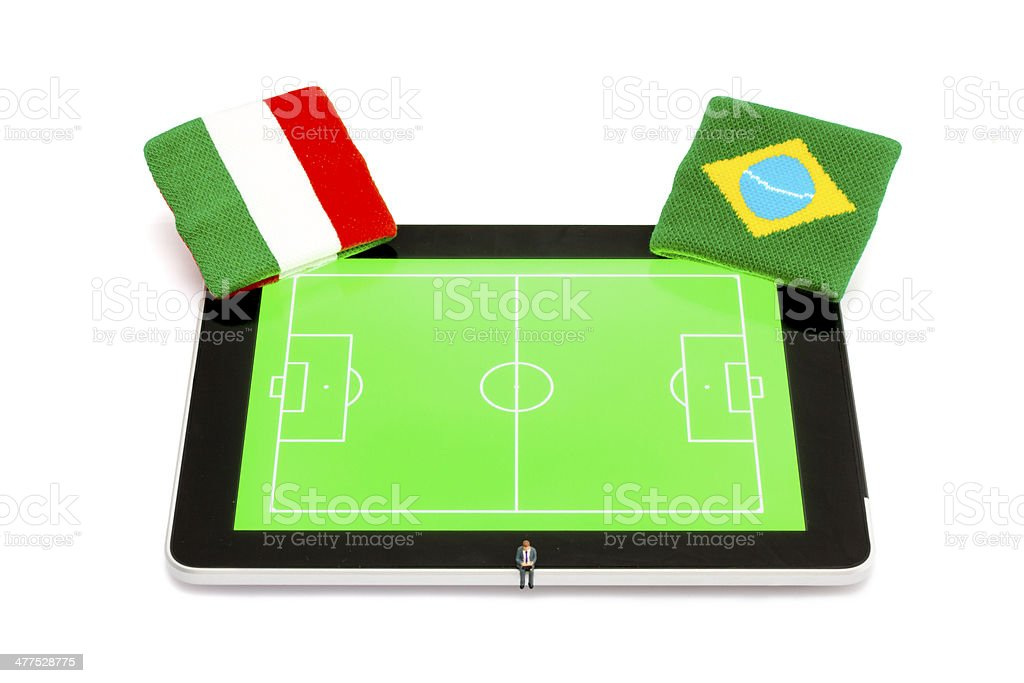 Soccer events on Digital Tablet royalty-free stock photo