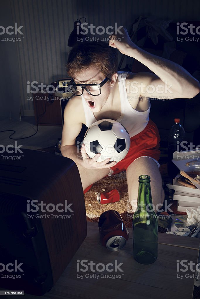 Soccer Fan Watching Television royalty-free stock photo