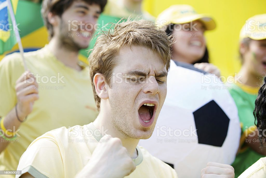 soccer fans cheering in Brazil royalty-free stock photo