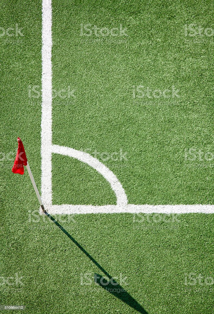 Soccer field and corner flag stock photo