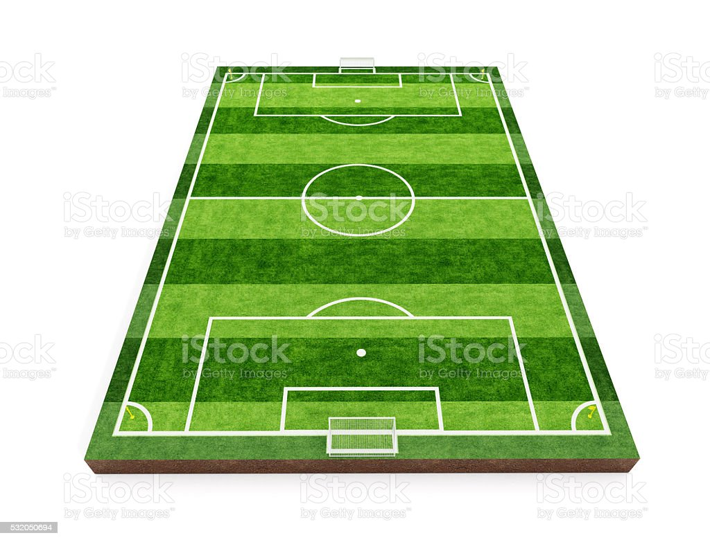 Soccer field and players stock photo