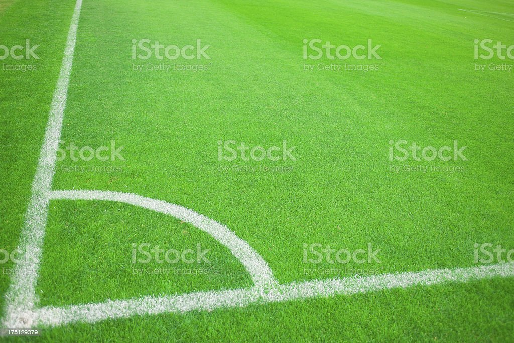 Soccer Field at a Soccer Match with Corner Kick royalty-free stock photo
