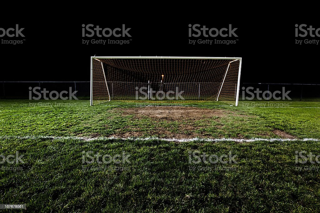 Soccer Field at Night stock photo