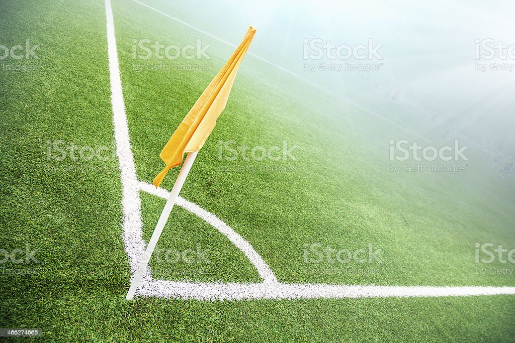Soccer field before a night match stock photo