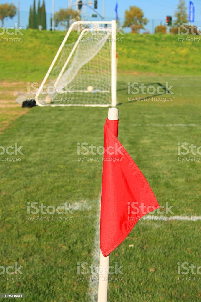 Soccer Field Corner Flag royalty-free stock photo