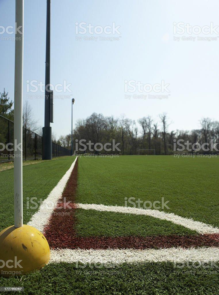 soccer field corner kick stock photo