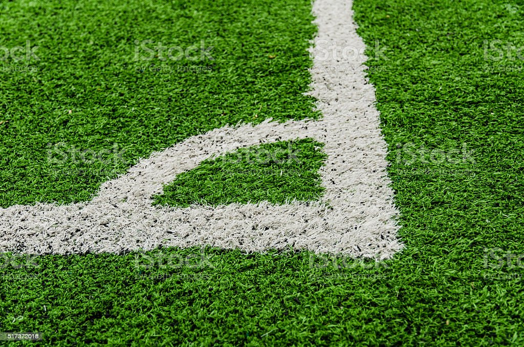 Soccer field corner line. stock photo