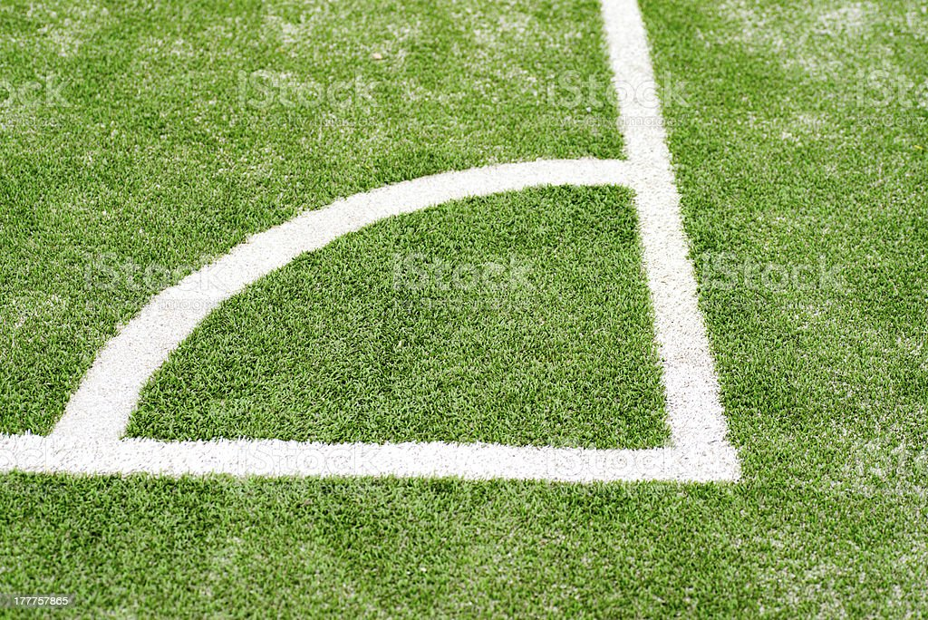 Soccer field grass on the green corner royalty-free stock photo
