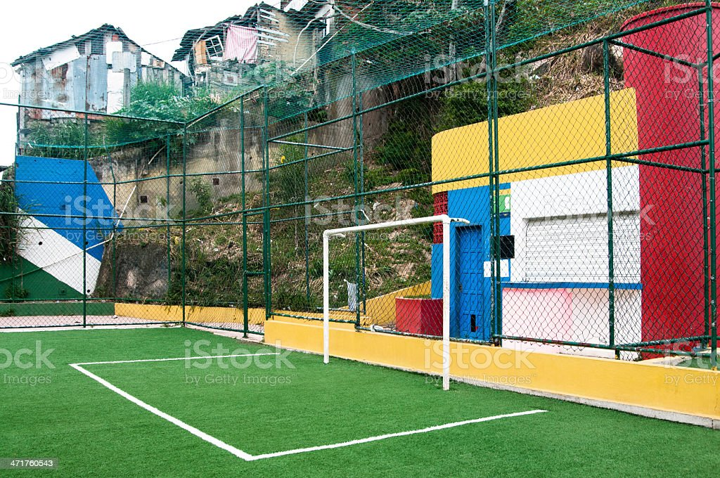Soccer field in a brazilian slum, Rio de Janeiro, Brazil royalty-free stock photo