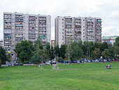 soccer field in front of industrialized apartment block, Jelenia Gora