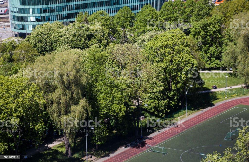 Soccer field in greenery stock photo