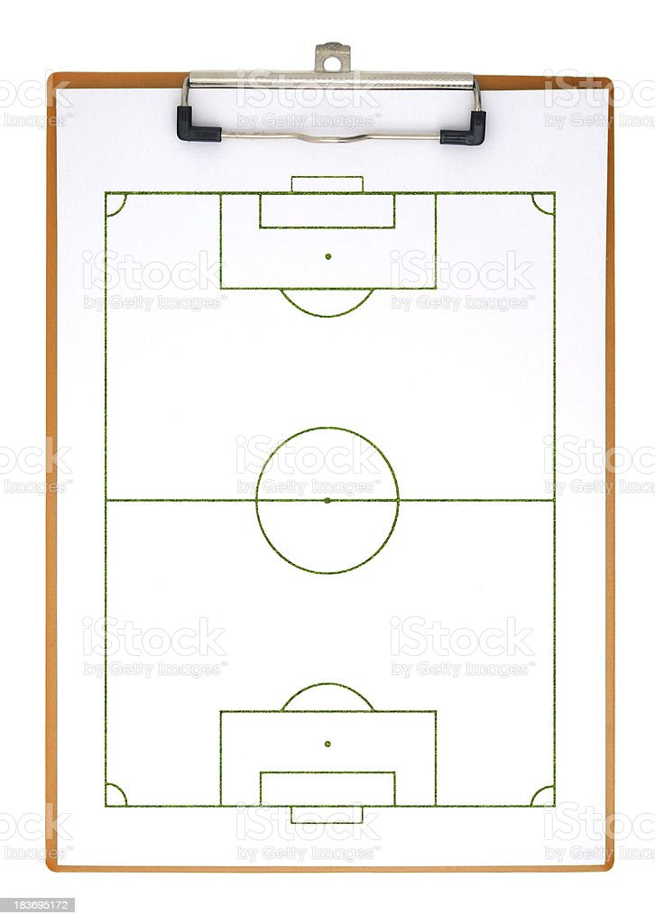 Soccer field on clipboard royalty-free stock photo