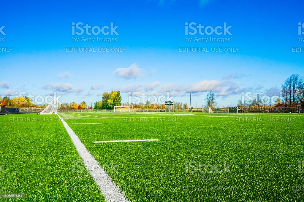 Terrain de soccer. stock photo