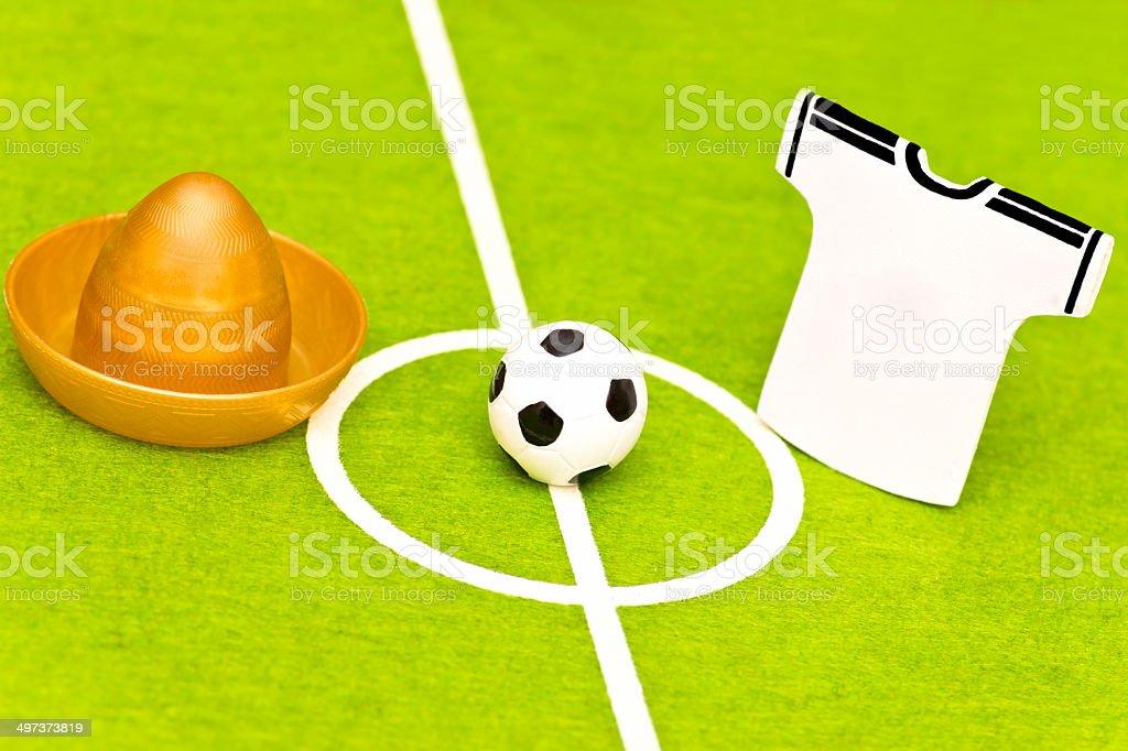 Soccer field sombrero and team shirt royalty-free stock photo