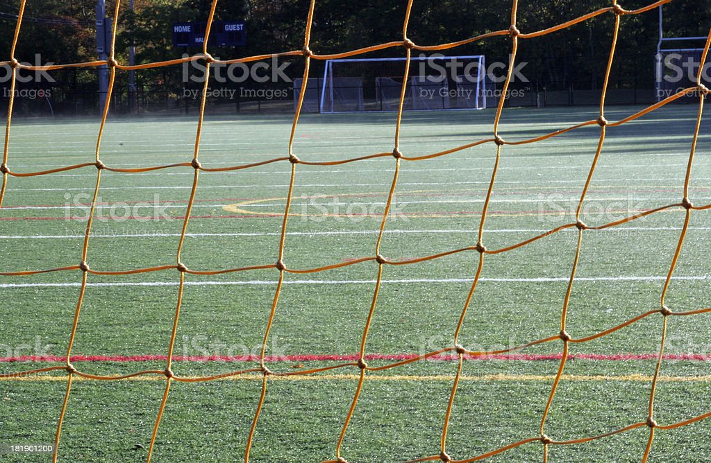 Soccer Field through net royalty-free stock photo