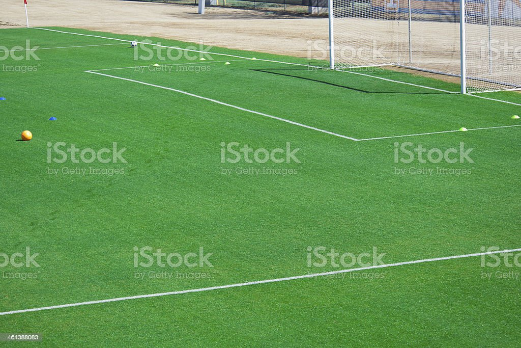 Soccer Field with a Soccer Goal at Soccer Match royalty-free stock photo